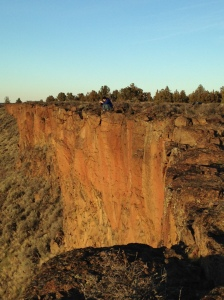 Preston perched on the edge of the canyon above the Deschutes River.
